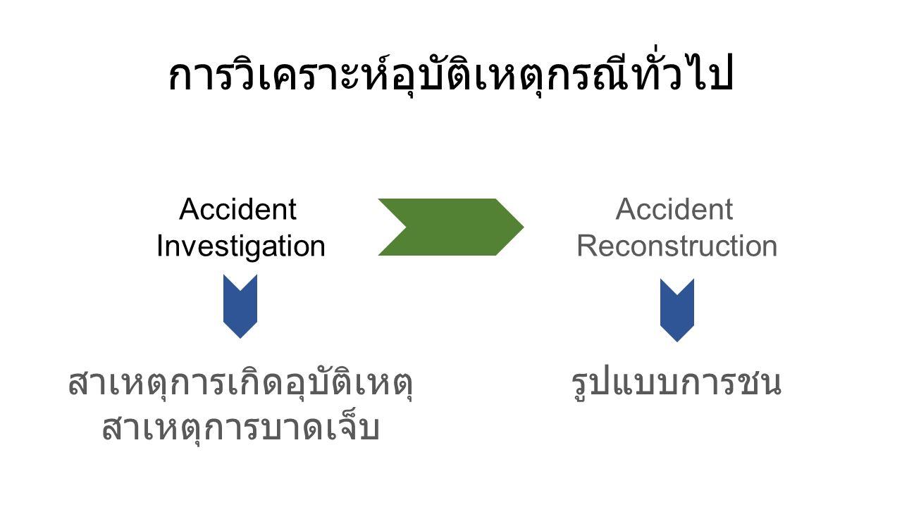Accident Investigation Accident Reconstruction สาเหตุการเกิดอุบัติเหตุ สาเหตุการบาดเจ็บ รูปแบบการชน การวิเคราะห์อุบัติเหตุกรณีทั่วไป