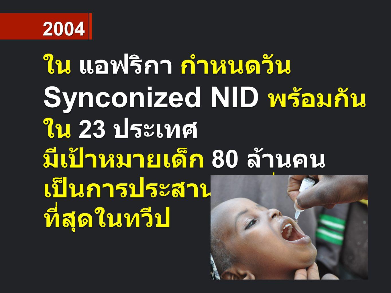 ใน แอฟริกา กำหนดวัน Synconized NID พร้อมกัน ใน 23 ประเทศ มีเป้าหมายเด็ก 80 ล้านคน เป็นการประสานงานที่ใหญ่ ที่สุดในทวีป 2004