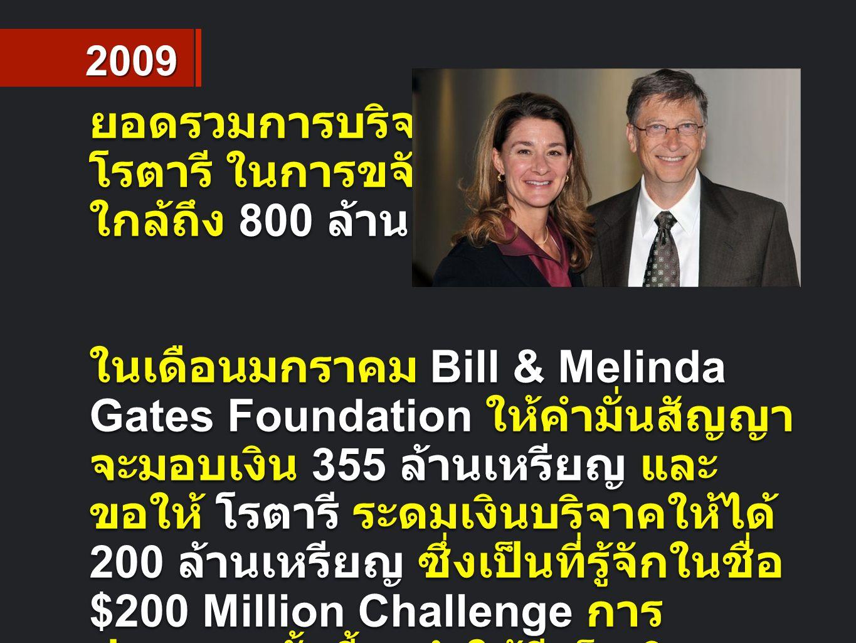 ยอดรวมการบริจาคของ โรตารี ในการขจัดโปลิโอ ใกล้ถึง 800 ล้านเหรียญ ในเดือนมกราคม Bill & Melinda Gates Foundation ให้คำมั่นสัญญา จะมอบเงิน 355 ล้านเหรียญ และ ขอให้ โรตารี ระดมเงินบริจาคให้ได้ 200 ล้านเหรียญ ซึ่งเป็นที่รู้จักในชื่อ $200 Million Challenge การ ประกาศครั้งนี้จะทำให้มีเม็ดเงินรวม เป็น 555 ล้านเหรียญ เพื่อใช้ สนับสนุนการขจัดโรคโปลิโอ 2009