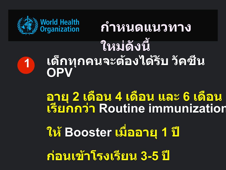 กำหนดแนวทาง ใหม่ดังนี้ เด็กทุกคนจะต้องได้รับ วัคซีน OPV อายุ 2 เดือน 4 เดือน และ 6 เดือน เรียกกว่า Routine immunization ให้ Booster เมื่ออายุ 1 ปี ก่อนเข้าโรงเรียน 3-5 ปี 1