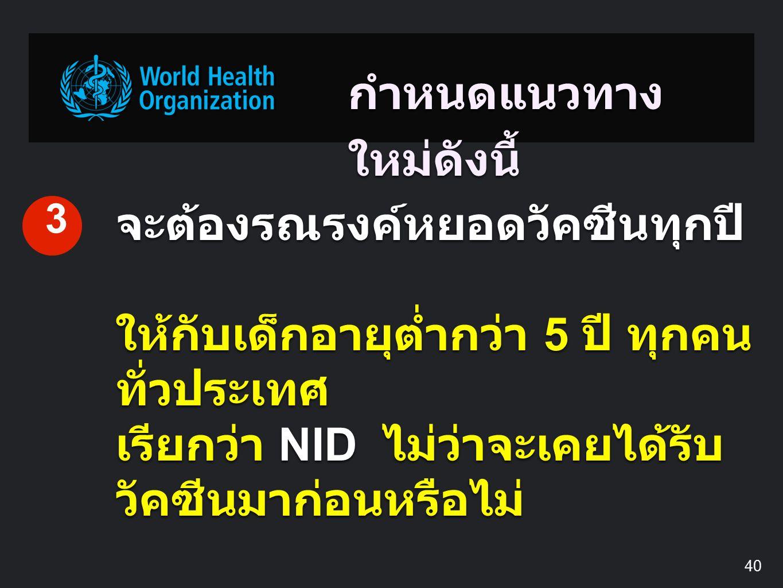 กำหนดแนวทาง ใหม่ดังนี้ จะต้องรณรงค์หยอดวัคซีนทุกปี ให้กับเด็กอายุต่ำกว่า 5 ปี ทุกคน ทั่วประเทศ เรียกว่า NID ไม่ว่าจะเคยได้รับ วัคซีนมาก่อนหรือไม่ 3 40