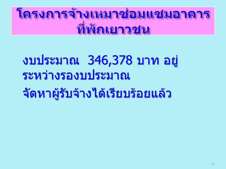 งบประมาณ 346,378 บาท อยู่ ระหว่างรองบประมาณ จัดหาผู้รับจ้างได้เรียบร้อยแล้ว 16