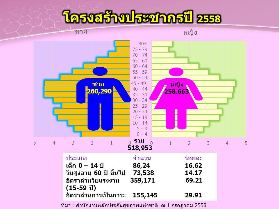 ประเภท จำนวน ร้อยละ เด็ก 0 – 14 ปี 86,24 16.62 วัยสูงอายุ 60 ปี ขึ้นไป 73,538 14.17 อัตราส่วนวัยแรงงาน 359,171 69.21 (15-59 ปี) อัตราส่วนการเป็นภาระ 1