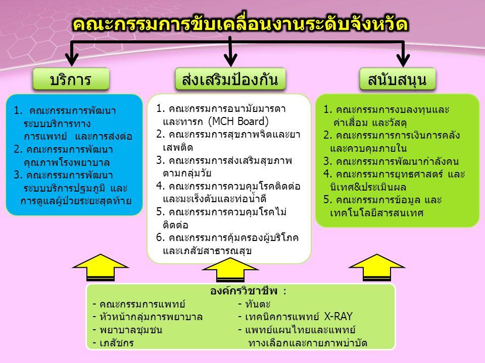 บริการ ส่งเสริมป้องกัน สนับสนุน 1. คณะกรรมการพัฒนา ระบบบริการทาง การแพทย์ และการส่งต่อ 2.