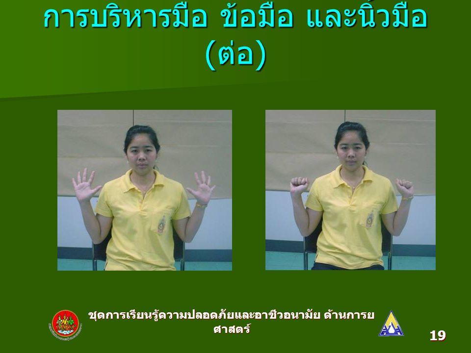 ชุดการเรียนรู้ความปลอดภัยและอาชีวอนามัย ด้านการย ศาสตร์ 19 การบริหารมือ ข้อมือ และนิ้วมือ ( ต่อ )
