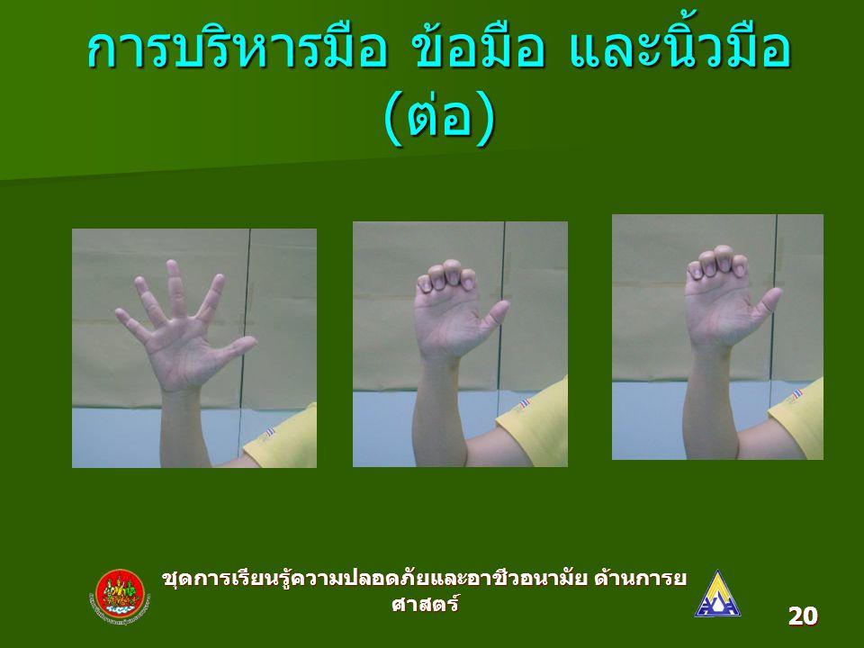 ชุดการเรียนรู้ความปลอดภัยและอาชีวอนามัย ด้านการย ศาสตร์ 20 การบริหารมือ ข้อมือ และนิ้วมือ ( ต่อ )
