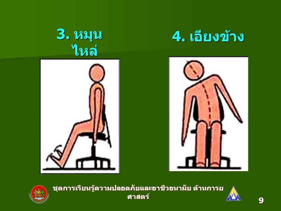ชุดการเรียนรู้ความปลอดภัยและอาชีวอนามัย ด้านการย ศาสตร์ 10 5. ก้มหลัง 6. งอเหยียดข้อ เท้า
