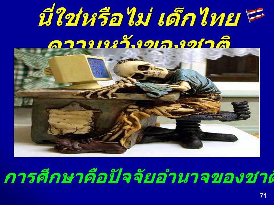 นี่ใช่หรือไม่ เด็กไทย ความหวังของชาติ การศึกษาคือปัจจัยอำนาจของชาติที่หวังพึ่งได้หรือไม่ 71