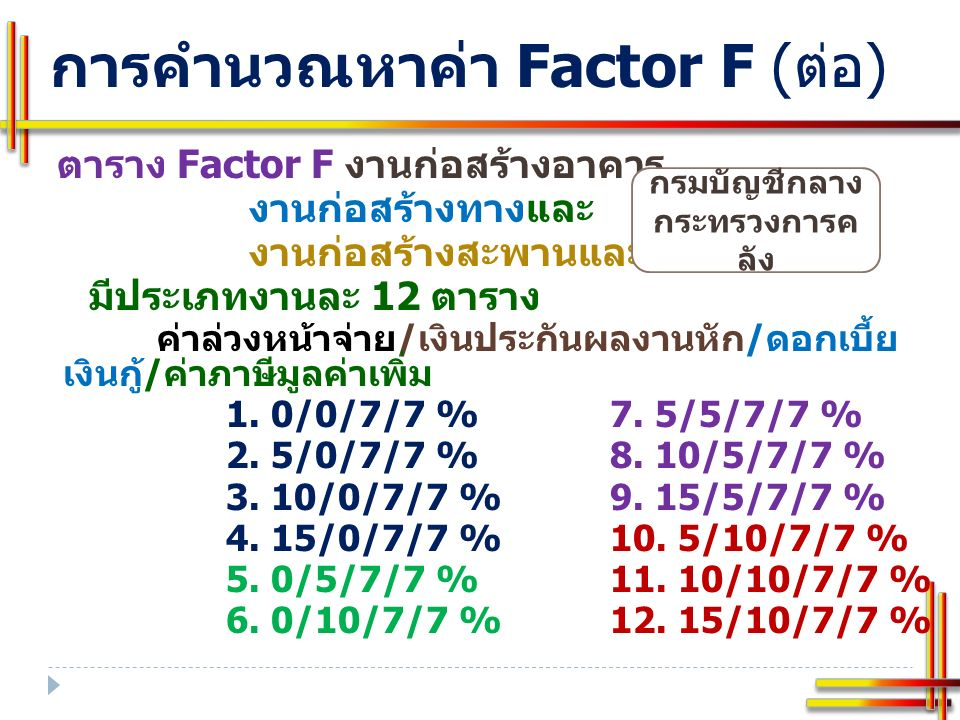 Factor F งาน อาคาร ตาราง Factor F 10-10-7-7 ตาราง Factor F 10-10-7-7 ตัวอย่า ง