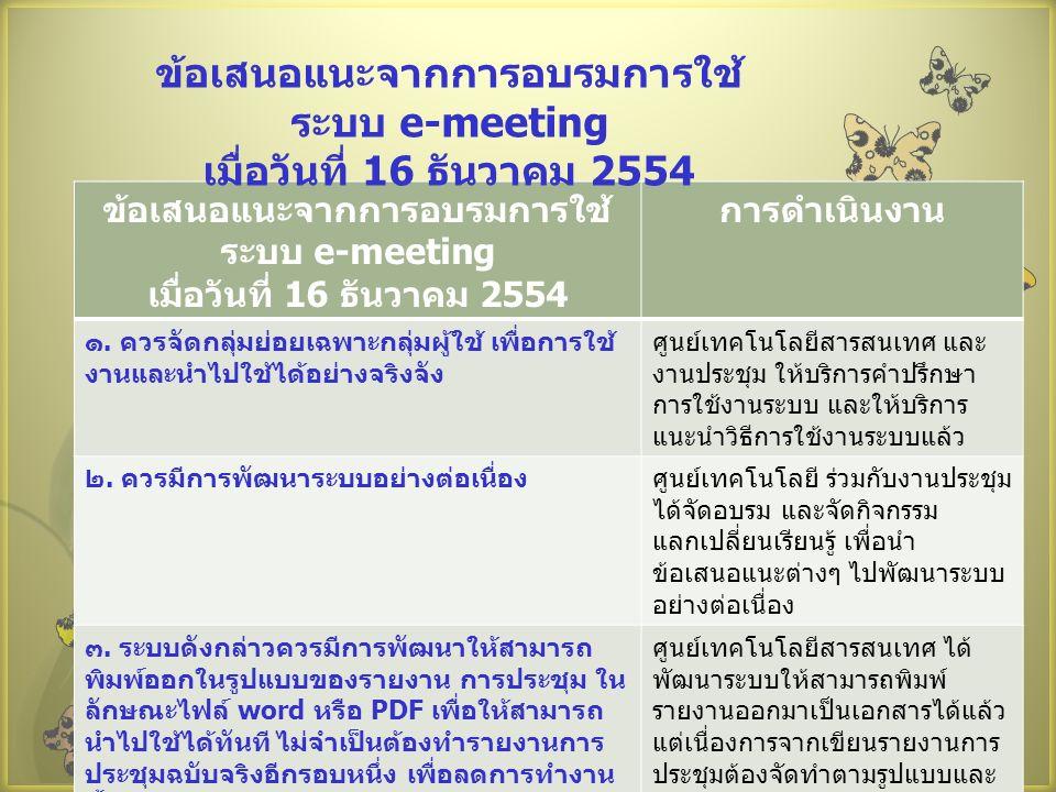 ข้อเสนอแนะจากการอบรมการใช้ ระบบ e-meeting เมื่อวันที่ 16 ธันวาคม 2554 การดำเนินงาน ๑.