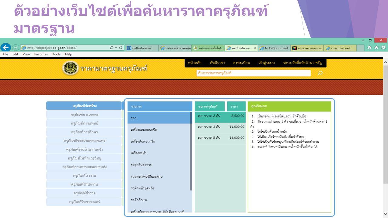 ตัวอย่างเว็บไซต์เพื่อค้นหาราคาครุภัณฑ์ มาตรฐาน พร้อมรายละเอียดครุภัณฑ์