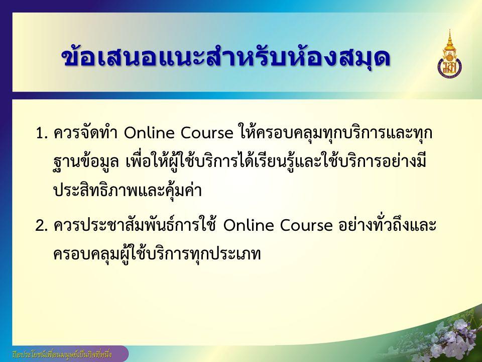 ข้อเสนอแนะสำหรับห้องสมุด 1. ควรจัดทำ Online Course ให้ครอบคลุมทุกบริการและทุก ฐานข้อมูล เพื่อให้ผู้ใช้บริการได้เรียนรู้และใช้บริการอย่างมี ประสิทธิภาพ