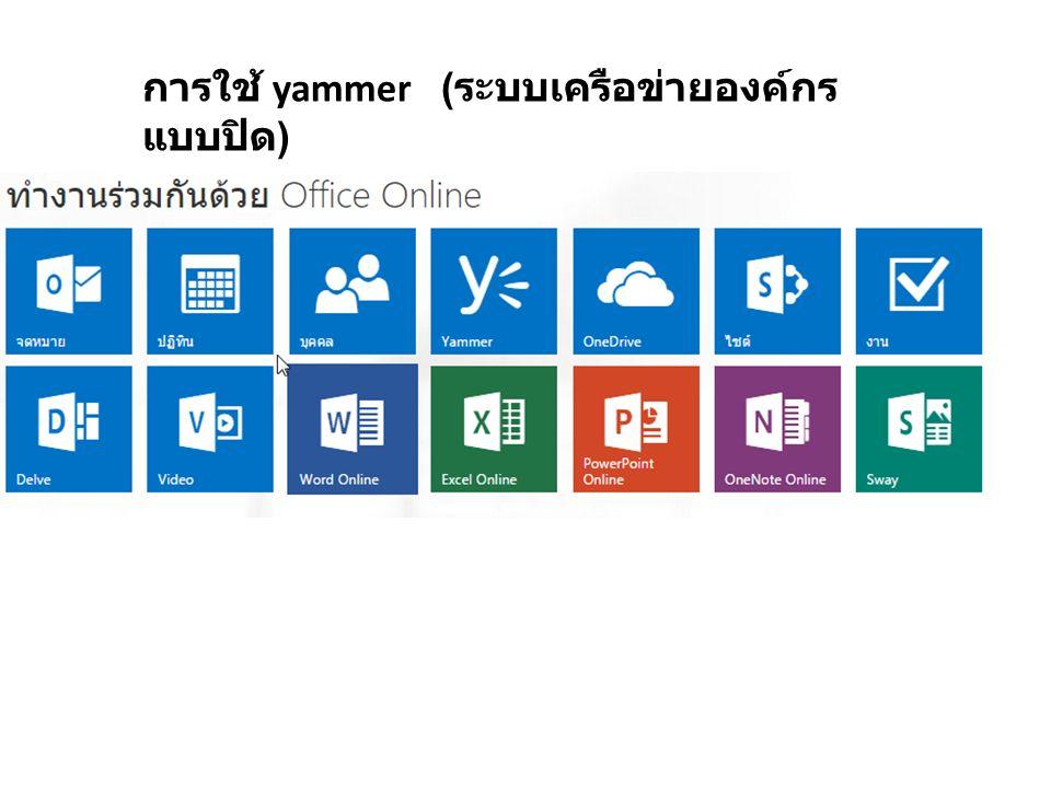 การใช้ yammer ( ระบบเครือข่ายองค์กร แบบปิด )