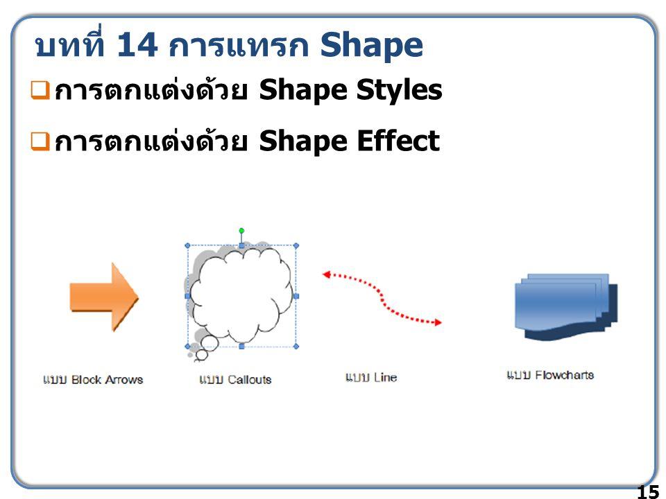 บทที่ 14 การแทรก Shape  การตกแต่งด้วย Shape Styles  การตกแต่งด้วย Shape Effect 15