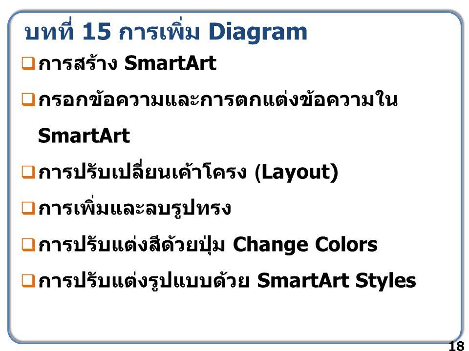 บทที่ 15 การเพิ่ม Diagram  การสร้าง SmartArt  กรอกข้อความและการตกแต่งข้อความใน SmartArt  การปรับเปลี่ยนเค้าโครง (Layout)  การเพิ่มและลบรูปทรง  กา