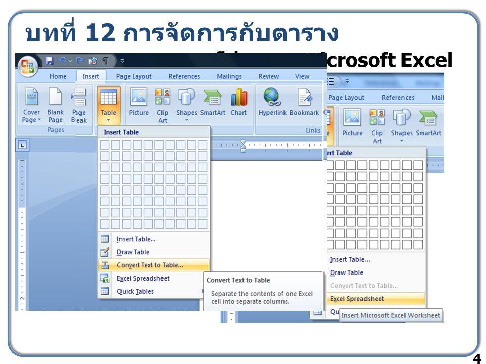 บทที่ 12 การจัดการกับตาราง  การแทรกตารางจากโปรแกรม Microsoft Excel  การสร้างตารางจากปุ่ม Insert Table  การตกแต่งตารางด้วย Table Styles  การแปลงข้อ