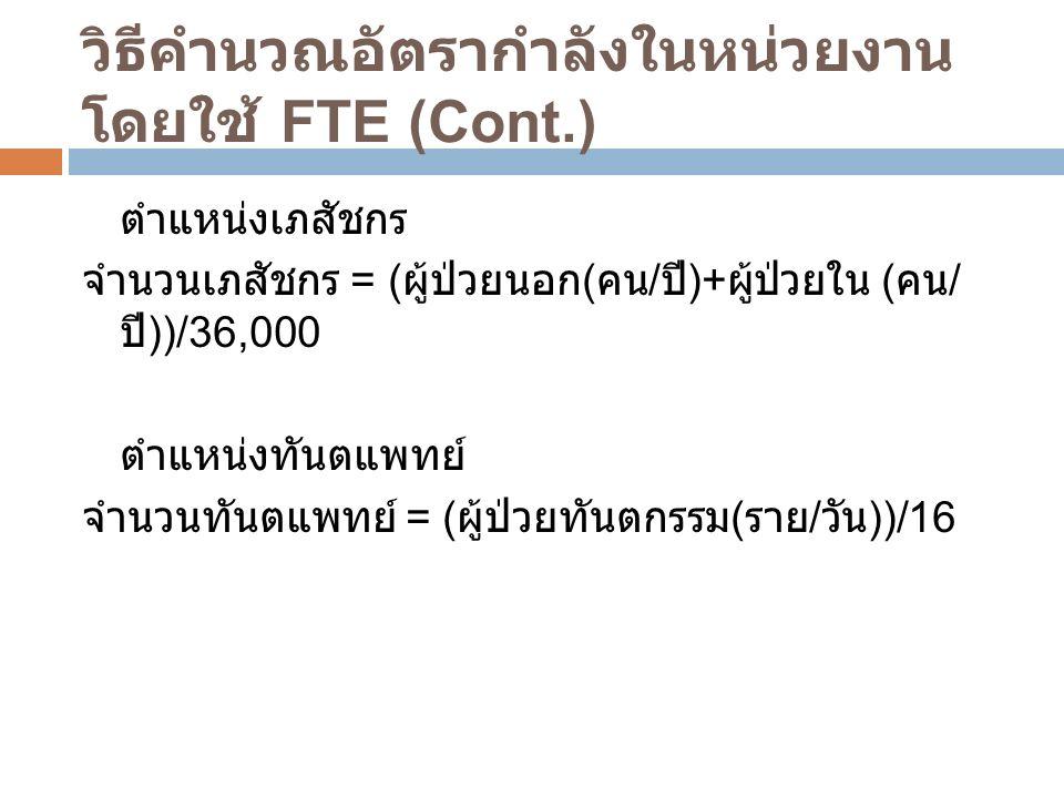 วิธีคำนวณอัตรากำลังในหน่วยงาน โดยใช้ FTE (Cont.) ตำแหน่งเภสัชกร จำนวนเภสัชกร = ( ผู้ป่วยนอก ( คน / ปี )+ ผู้ป่วยใน ( คน / ปี ))/36,000 ตำแหน่งทันตแพทย์ จำนวนทันตแพทย์ = ( ผู้ป่วยทันตกรรม ( ราย / วัน ))/16