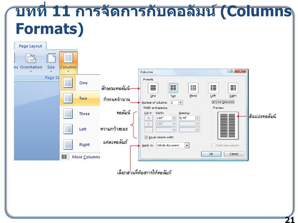 บทที่ 11 การจัดการกับคอลัมน์ (Columns Formats) 21