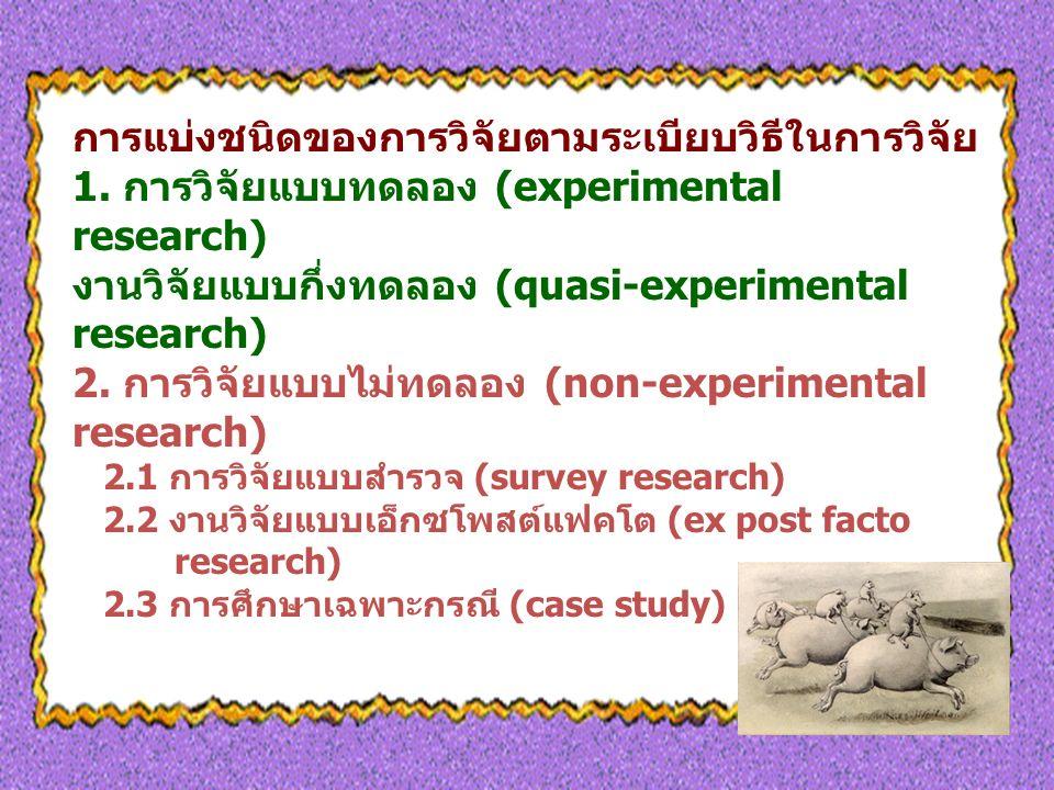 การแบ่งชนิดของการวิจัยตามระเบียบวิธีในการวิจัย 1.