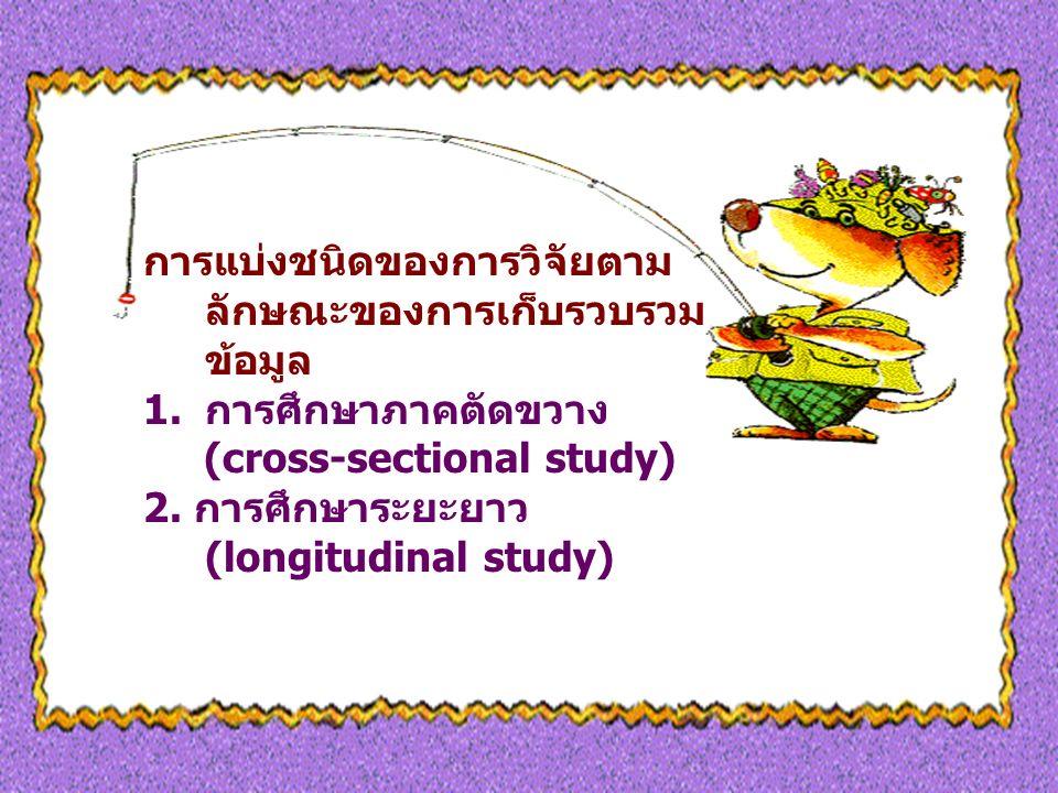การแบ่งชนิดของการวิจัยตาม ลักษณะของการเก็บรวบรวม ข้อมูล 1.การศึกษาภาคตัดขวาง (cross-sectional study) 2.