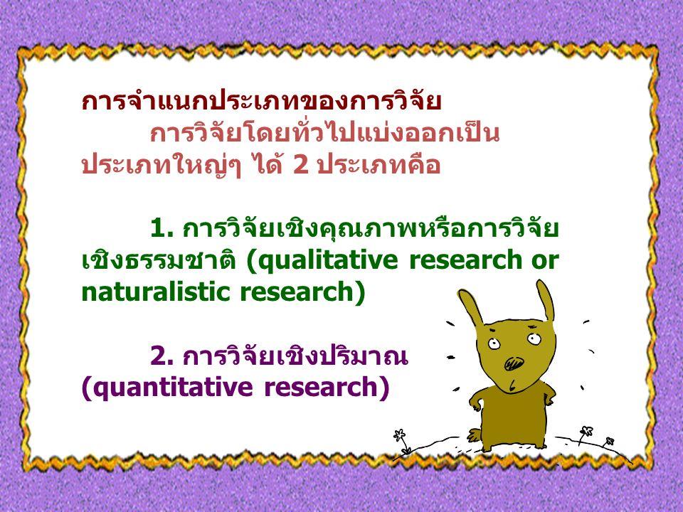 การจำแนกประเภทของการวิจัย การวิจัยโดยทั่วไปแบ่งออกเป็น ประเภทใหญ่ๆ ได้ 2 ประเภทคือ 1.