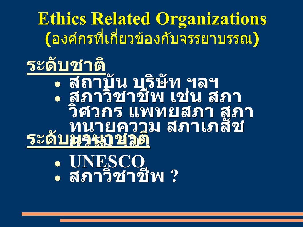 Ethics Related Organizations (องค์กรที่เกี่ยวข้องกับจรรยาบรรณ) ● สถาบัน บริษัท ฯลฯ ● สภาวิชาชีพ เช่น สภา วิศวกร แพทยสภา สภา ทนายความ สภาเภสัช กรรม ฯลฯ ระดับชาติระดับนานาชาติ ● UNESCO ● สภาวิชาชีพ ?