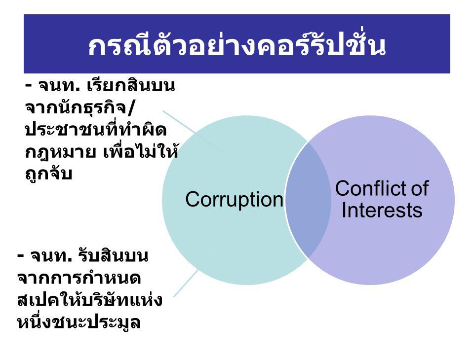 กรณีตัวอย่างคอร์รัปชั่น Corruption Conflict of Interests - จนท. เรียกสินบน จากนักธุรกิจ/ ประชาชนที่ทำผิด กฎหมาย เพื่อไม่ให้ ถูกจับ - จนท. รับสินบน จาก