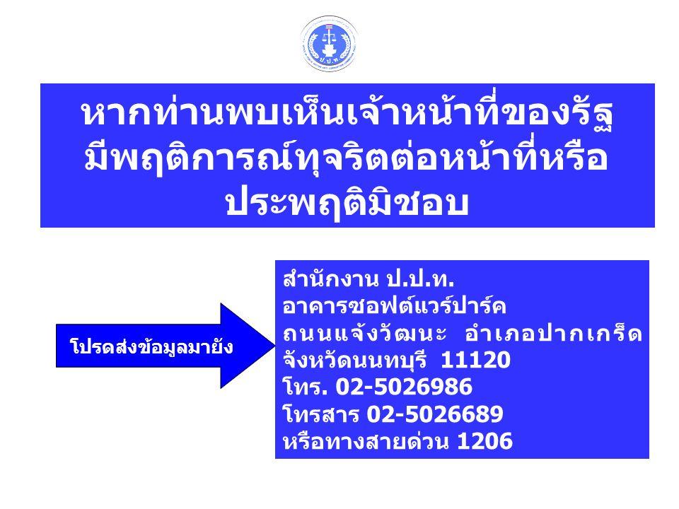 โปรดส่งข้อมูลมายัง สำนักงาน ป.ป.ท. อาคารซอฟต์แวร์ปาร์ค ถนนแจ้งวัฒนะ อำเภอปากเกร็ด จังหวัดนนทบุรี 11120 โทร. 02-5026986 โทรสาร 02-5026689 หรือทางสายด่ว