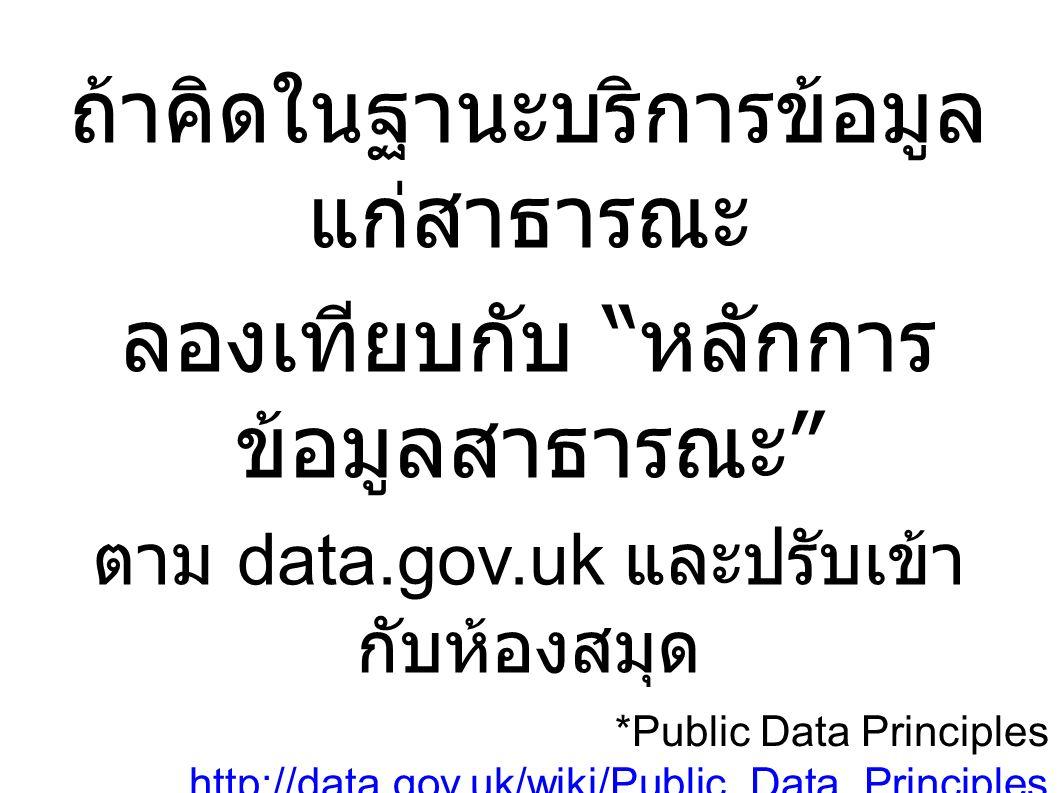 ถ้าคิดในฐานะบริการข้อมูล แก่สาธารณะ ลองเทียบกับ หลักการ ข้อมูลสาธารณะ ตาม data.gov.uk และปรับเข้า กับห้องสมุด *Public Data Principles http://data.gov.uk/wiki/Public_Data_Principles http://data.gov.uk/wiki/Public_Data_Principles