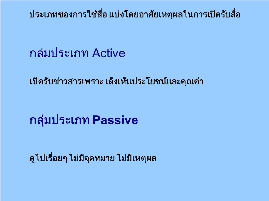 ประเภทของการใช้สื่อ แบ่งโดยอาศัยเหตุผลในการเปิดรับสื่อ กลุ่มประเภท Active เปิดรับข่าวสารเพราะ เล็งเห็นประโยชน์และคุณค่า กลุ่มประเภท Passive ดูไปเรื่อย