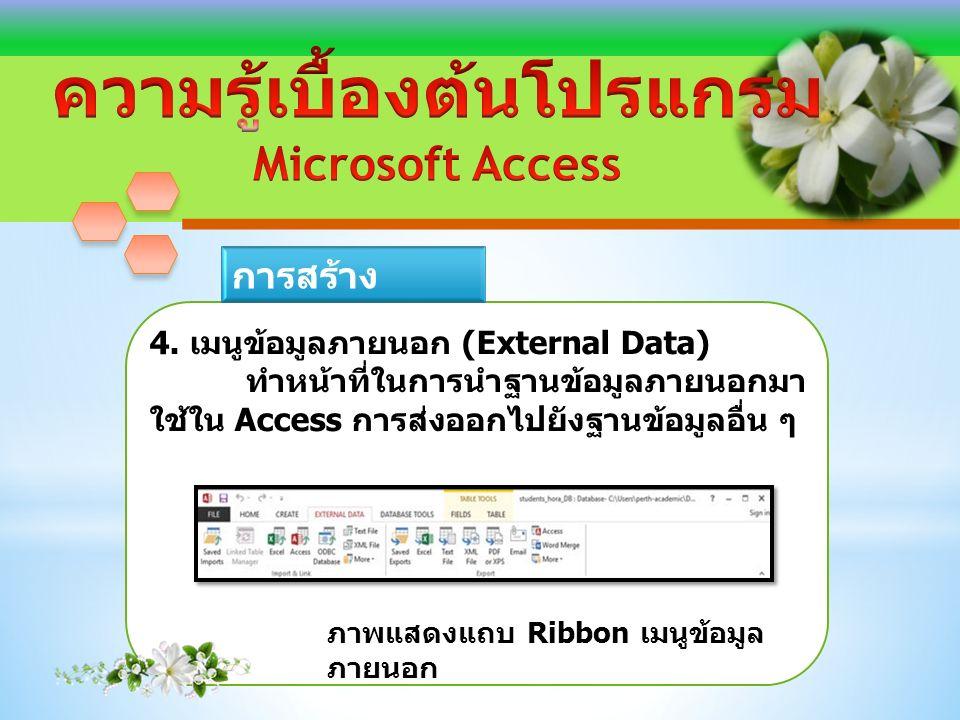 4. เมนูข้อมูลภายนอก (External Data) ทำหน้าที่ในการนำฐานข้อมูลภายนอกมา ใช้ใน Access การส่งออกไปยังฐานข้อมูลอื่น ๆ ภาพแสดงแถบ Ribbon เมนูข้อมูล ภายนอก