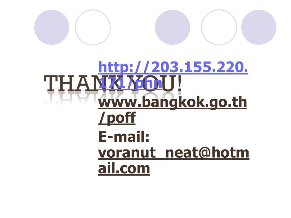 http://203.155.220. 171/phn www.bangkok.go.th /poff E-mail: voranut_neat@hotm ail.com