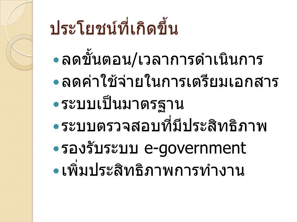 ประโยชน์ที่เกิดขึ้น ลดขั้นตอน / เวลาการดำเนินการ ลดค่าใช้จ่ายในการเตรียมเอกสาร ระบบเป็นมาตรฐาน ระบบตรวจสอบที่มีประสิทธิภาพ รองรับระบบ e-government เพิ่มประสิทธิภาพการทำงาน