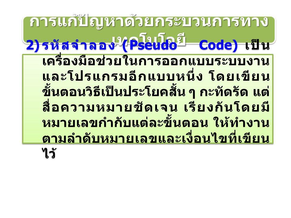 การแก้ปัญหาด้วยกระบวนการทาง เทคโนโลยี 2) รหัสจำลอง (Pseudo Code) เป็น เครื่องมือช่วยในการออกแบบระบบงาน และโปรแกรมอีกแบบหนึ่ง โดยเขียน ขั้นตอนวิธีเป็นประโยคสั้น ๆ กะทัดรัด แต่ สื่อความหมายชัดเจน เรียงกันโดยมี หมายเลขกำกับแต่ละขั้นตอน ให้ทำงาน ตามลำดับหมายเลขและเงื่อนไขที่เขียน ไว้