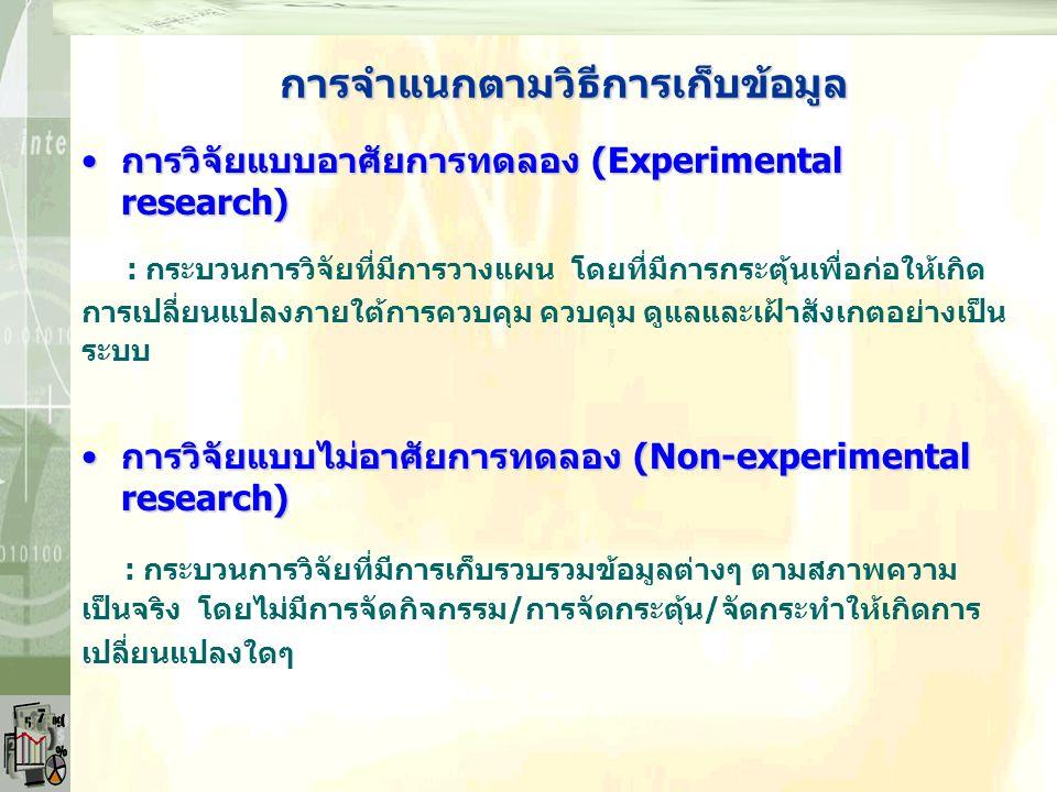 การจำแนกตามวัตถุประสงค์ การวิจัยเชิงพรรณนา (Descriptive research)การวิจัยเชิงพรรณนา (Descriptive research) : การวิจัยมุ่งพรรณนาสภาพที่เป็นอยู่/เกิดขึ้นและลักษณะสำคัญของ ปรากฏการณ์หรือพฤติกรรมเกิดขึ้น การวิจัยเชิงอธิบาย (Explanatory research)การวิจัยเชิงอธิบาย (Explanatory research) : การวิจัยมุ่งอธิบายสาเหตุการเกิดขึ้นสภาพที่เป็นอยู่ของปรากฏการณ์ หรือพฤติกรรม โดยหาความเป็นเหตุและผล