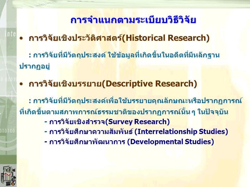 การจำแนกตามความลึกของข้อมูล การวิจัยเชิงปริมาณ (Quantitative research)การวิจัยเชิงปริมาณ (Quantitative research) : การวิจัยที่อาศัยข้อมูลตัวเลขเพื่อยืนยันพิสูจน์ความถูกต้องของข้อมูล ข้อค้นพบและข้อสรุปต่างๆ การวิจัยเชิงคุณภาพ (Qualitative research)การวิจัยเชิงคุณภาพ (Qualitative research) : การวิจัยที่ไม่เน้นข้อมูลตัวเลขเป็นข้อยืนยันความถูกต้องของข้อมูล ข้อค้นพบและข้อสรุปต่างๆ