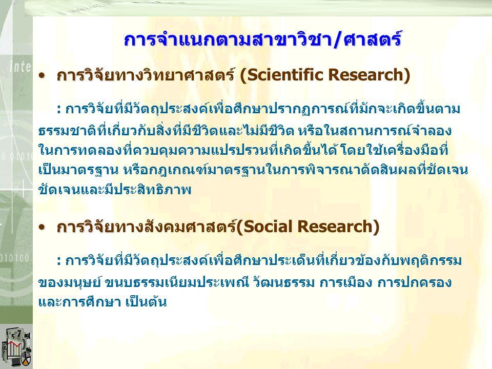 การจำแนกตามระเบียบวิธีวิจัย การวิจัยการวิจัยเชิงประวัติศาสตร์(Historical Research) : การวิจัยที่มีวัตถุประสงค์ ใช้ข้อมูลที่เกิดขึ้นในอดีตที่มีหลักฐาน ปรากฏอยู่ การวิจัยการวิจัยเชิงบรรยาย(Descriptive Research) : การวิจัยที่มีวัตถุประสงค์เพื่อใช้บรรยายคุณลักษณะหรือปรากฏการณ์ ที่เกิดขึ้นตามสภาพการณ์ธรรมชาติของปรากฏการณ์นั้น ๆ ในปัจจุบัน - การวิจัยเชิงสำรวจ(Survey Research) - การวิจัยศึกษาความสัมพันธ์ (Interrelationship Studies) - การวิจัยศึกษาพัฒนาการ (Developmental Studies)