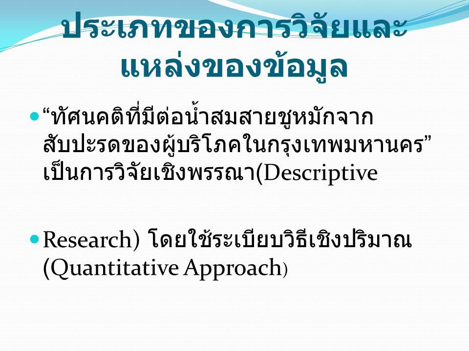 ประเภทของการวิจัยและ แหล่งของข้อมูล ทัศนคติที่มีต่อน้ำสมสายชูหมักจาก สับปะรดของผู้บริโภคในกรุงเทพมหานคร เป็นการวิจัยเชิงพรรณา (Descriptive Research) โดยใช้ระเบียบวิธีเชิงปริมาณ (Quantitative Approach )