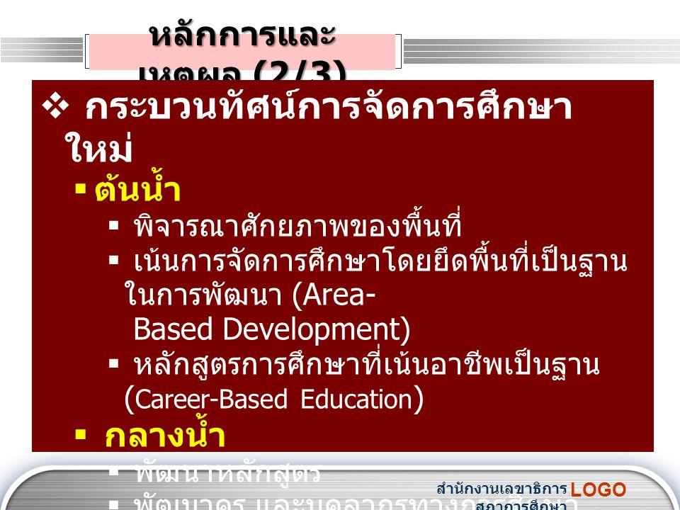 LOGO หลักการและ เหตุผล (2/3)  กระบวนทัศน์การจัดการศึกษา ใหม่  ต้นน้ำ  พิจารณาศักยภาพของพื้นที่  เน้นการจัดการศึกษาโดยยึดพื้นที่เป็นฐาน ในการพัฒนา (Area- Based Development)  หลักสูตรการศึกษาที่เน้นอาชีพเป็นฐาน ( Career-Based Education )  กลางน้ำ  พัฒนาหลักสูตร  พัฒนาครู และบุคลากรทางการศึกษา  ประยุกต์ใช้เทคโนโลยีสมัยใหม่ สำนักงานเลขาธิการ สภาการศึกษา