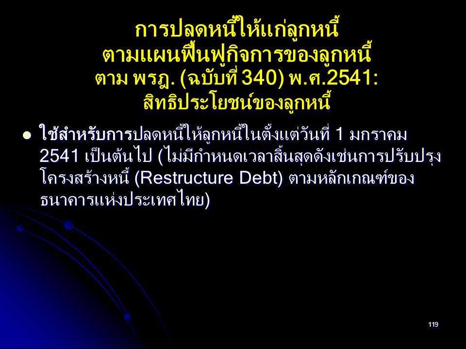 119 การปลดหนี้ให้แก่ลูกหนี้ ตามแผนฟื้นฟูกิจการของลูกหนี้ ตาม พรฎ. (ฉบับที่ 340) พ.ศ.2541: สิทธิประโยชน์ของลูกหนี้ ใช้สำหรับการปลดหนี้ให้ลูกหนี้ในตั้งแ