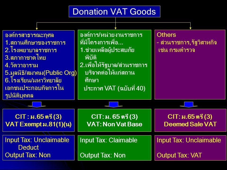 149 Donation VAT Goods องค์กรสาธารณะกุศล 1.สถานศึกษาของราชการ 2.โรงพยาบาลราชการ 3.สภากาชาดไทย 4.วัดวาอาราม 5.มูลนิธิ/สมาคม(Public Org) 6.โรงเรียน/มหาว