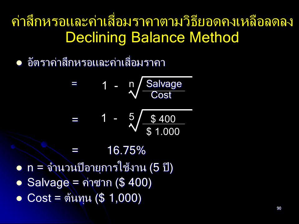90 ค่าสึกหรอและค่าเสื่อมราคาตามวิธียอดคงเหลือลดลง Declining Balance Method อัตราค่าสึกหรอและค่าเสื่อมราคา อัตราค่าสึกหรอและค่าเสื่อมราคา = Salvage = S