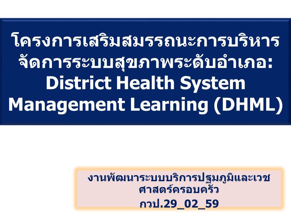โครงการเสริมสมรรถนะการบริหาร จัดการระบบสุขภาพระดับอำเภอ : District Health System Management Learning (DHML) งานพัฒนาระบบบริการปฐมภูมิและเวช ศาสตร์ครอบครัว กวป.29_02_59