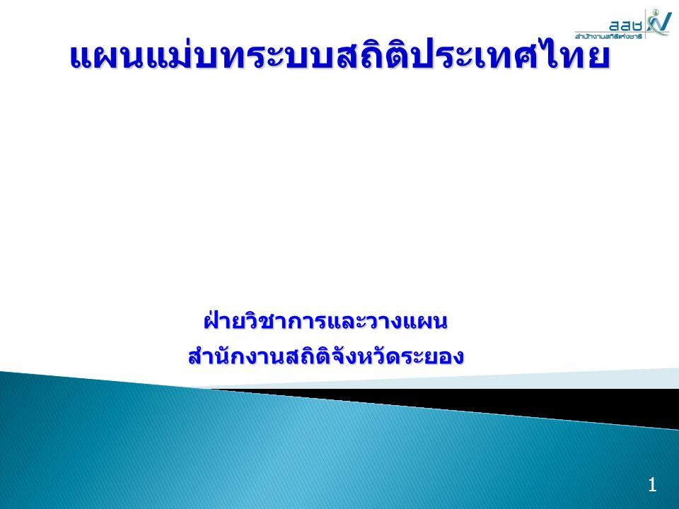  แผนแม่บทระบบสถิติประเทศไทย หมายถึง แผนเกี่ยวกับทิศทางเป้าหมาย หลัก ยุทธศาสตร์และแนวทางการ ดำเนินงานเพื่อให้เกิดสถิติทางการที่มี คุณภาพ ได้มาตรฐานทันต่อเหตุการณ์ เพื่อประโยชน์ในการกำหนด ดำเนินงาน และประเมินนโยบายของประเทศ