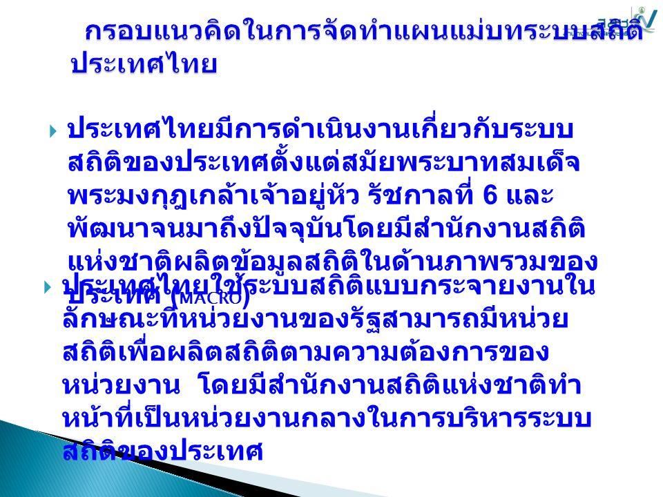  ประเทศไทยมีการดำเนินงานเกี่ยวกับระบบ สถิติของประเทศตั้งแต่สมัยพระบาทสมเด็จ พระมงกุฎเกล้าเจ้าอยู่หัว รัชกาลที่ 6 และ พัฒนาจนมาถึงปัจจุบันโดยมีสำนักงานสถิติ แห่งชาติผลิตข้อมูลสถิติในด้านภาพรวมของ ประเทศ ( MACRO )  ประเทศไทยใช้ระบบสถิติแบบกระจายงานใน ลักษณะที่หน่วยงานของรัฐสามารถมีหน่วย สถิติเพื่อผลิตสถิติตามความต้องการของ หน่วยงาน โดยมีสำนักงานสถิติแห่งชาติทำ หน้าที่เป็นหน่วยงานกลางในการบริหารระบบ สถิติของประเทศ