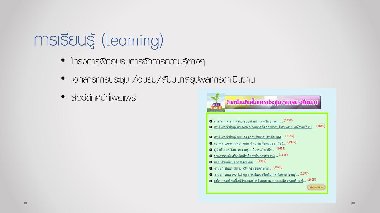 การเรียนรู้ (Learning) โครงการฝึกอบรมการจัดการความรู้ต่างๆ เอกสารการประชุม /อบรม/สัมมนาสรุปผลการดำเนินงาน สื่อวีดีทัศน์ที่เผยแพร่