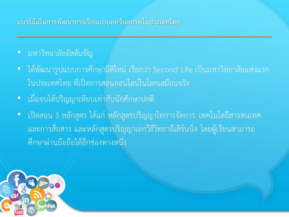 แนวโน้มในการพัฒนาการเรียนแบบภควันตภาพในประเทศไทย มหาวิทยาลัยอัสสัมชัญ ได้พัฒนารูปแบบการศึกษามิติใหม่ เรียกว่า Second Life เป็นมหาวิทยาลัยแห่งแรก ในประเทศไทย ที่เปิดการสอนออนไลน์ในโลกเสมือนจริง เมื่อจบได้ปริญญาเทียบเท่ากับนักศึกษาปกติ เปิดสอน 3 หลักสูตร ได้แก่ หลักสูตรปริญญาโทการจัดการ เทคโนโลยีสารสนเทศ และการสื่อสาร และหลักสูตรปริญญาเอกวิธีวิทยาอีเลิร์นนิ่ง โดยผู้เรียนสามารถ ศึกษาผ่านมือถือได้อีกช่องทางหนึ่ง