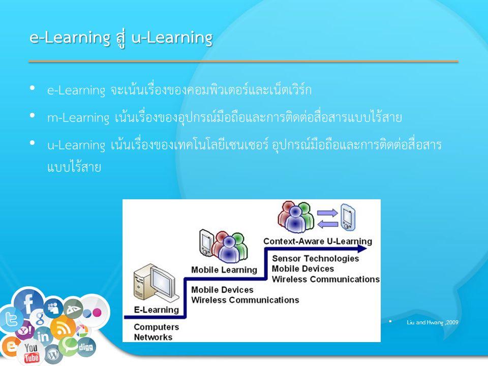 e-Learning สู่ u-Learning e-Learning จะเน้นเรื่องของคอมพิวเตอร์และเน็ตเวิร์ก m-Learning เน้นเรื่องของอุปกรณ์มือถือและการติดต่อสื่อสารแบบไร้สาย u-Learning เน้นเรื่องของเทคโนโลยีเซนเซอร์ อุปกรณ์มือถือและการติดต่อสื่อสาร แบบไร้สาย Liu and Hwang,2009