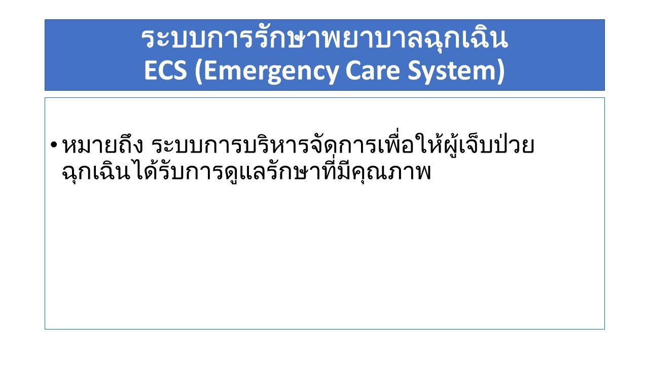 ECS (Emergency Care System) การป้องกันก่อนเกิด (prevention), การดูแล ณ จุดเกิดเหตุ (pre hospital care), ต่อเนื่องถึง การดูแล ณ ห้องฉุกเฉิน (ER ), การดูแล รักษาใน โรงพยาบาล (In hospital care) / การดูแลเฉพาะทาง (Definitive care), การส่งต่อ (Inter hospital care/ Referral System) การจัดระบบบริบาลกรณีเกิดอุบัติเหตุหมู่ (Mass Casualties Incident) การเตรียมแผนรองรับภัยพิบัติ ของสถานพยาบาล / โรงพยาบาล (Disaster preparedness & Hospital preparedness for Emergency)