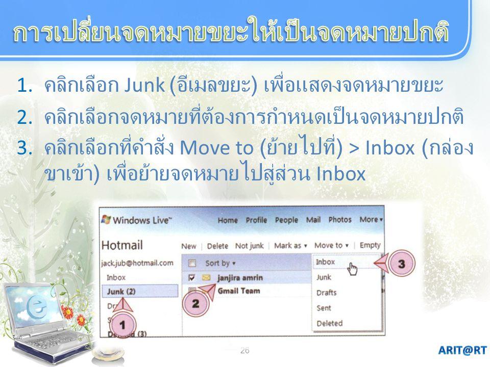 26 1. คลิกเลือก Junk ( อีเมลขยะ ) เพื่อแสดงจดหมายขยะ 2. คลิกเลือกจดหมายที่ต้องการกำหนดเป็นจดหมายปกติ 3. คลิกเลือกที่คำสั่ง Move to ( ย้ายไปที่ ) > Inb